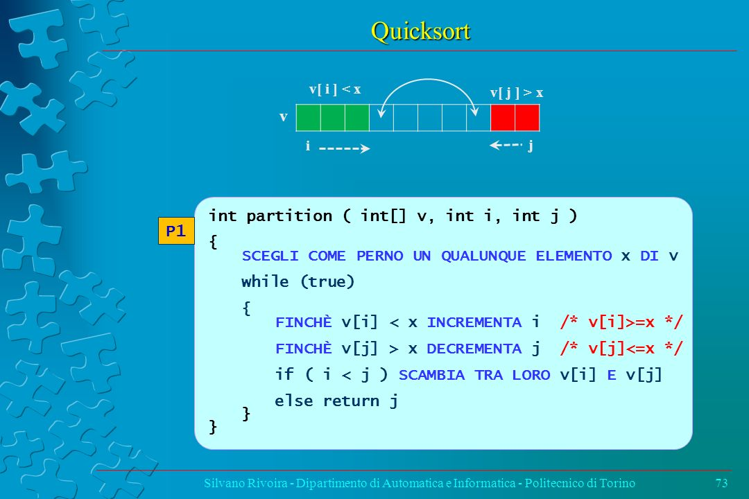 Quicksort v P1 int partition ( int[] v, int i, int j ) {